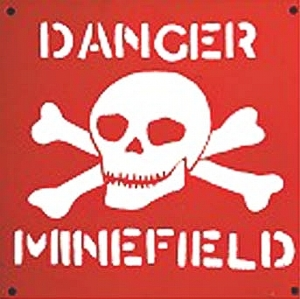 Danger Minefield sign